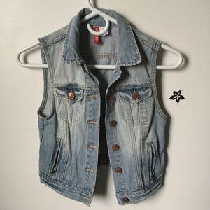 H&M crop denim vest jacket